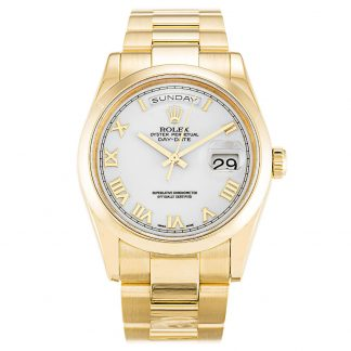 Rolex Day-Date Homme Chiffre romain blanc 118208